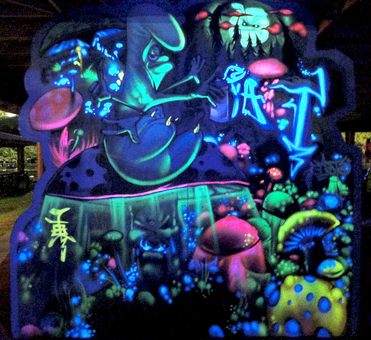 Keep it flowing glow in the dark murals for Black light mural